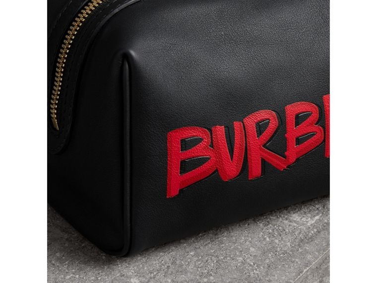 Graffiti Print Leather Pouch in Black | Burberry - cell image 1