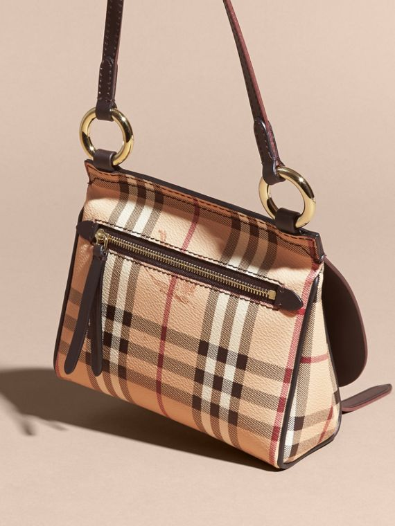The Baby Bridle Bag in Leather and Haymarket Check in Dark Clove Brown - Women | Burberry - cell image 3
