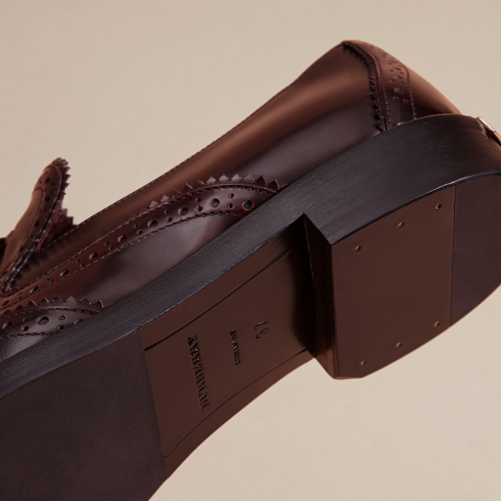 Bordeaux Dégradé Tassel Detail Leather Loafers - gallery image 5