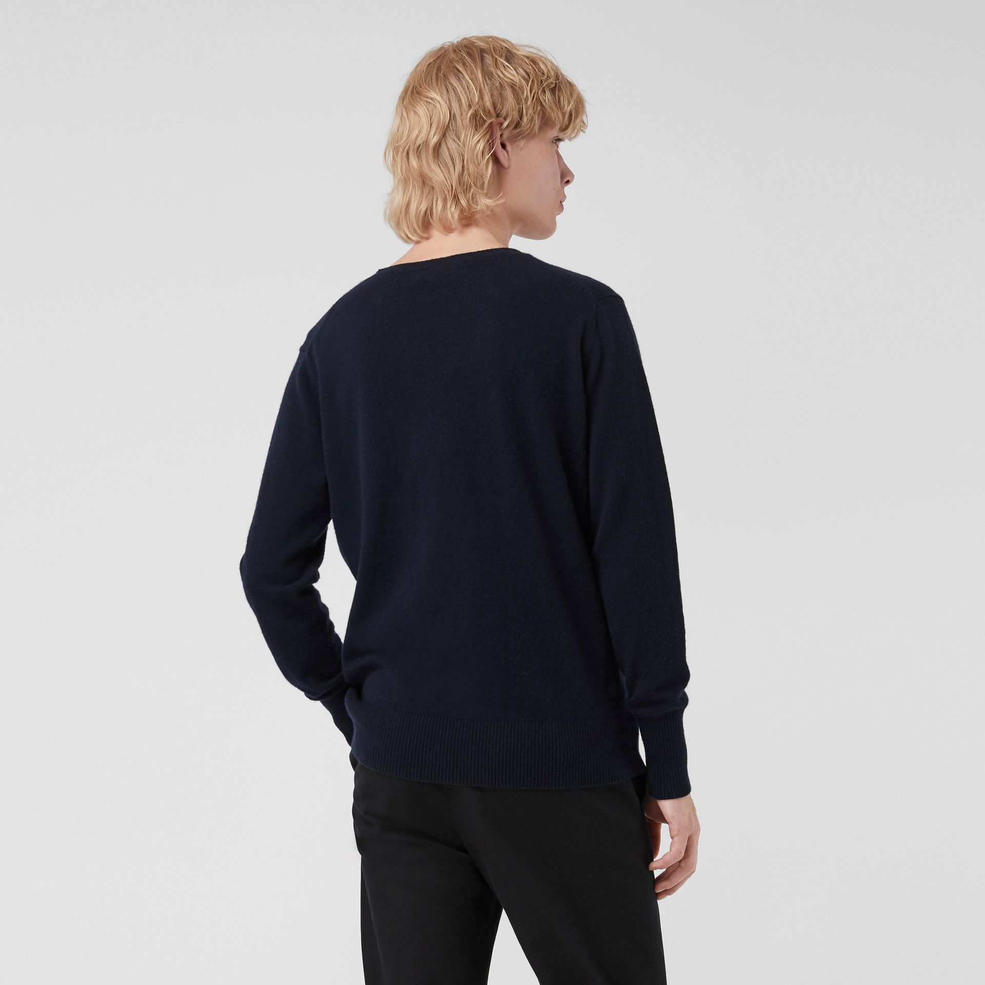 Embroidered Archive Logo Cashmere Sweater in Navy - Men | Burberry United Kingdom - gallery image 2