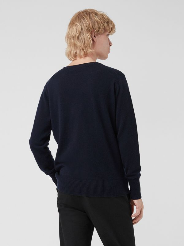 Embroidered Archive Logo Cashmere Sweater in Navy - Men | Burberry United States - cell image 2