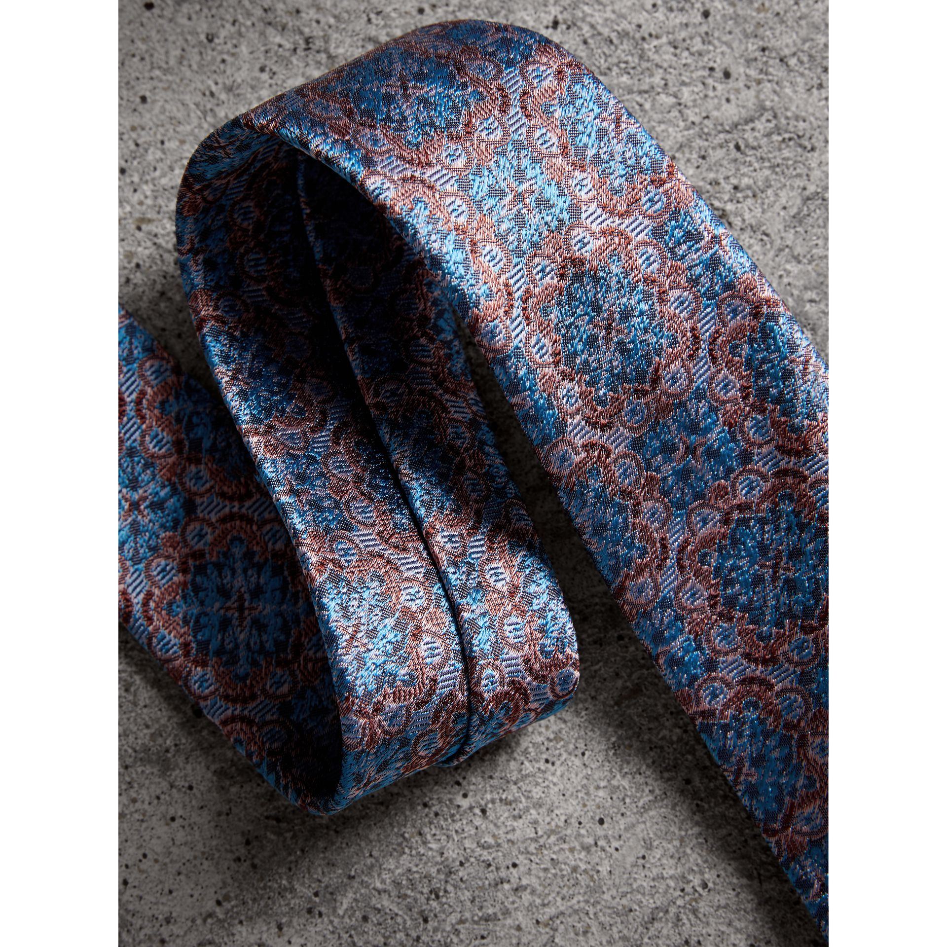 Slim Cut Silk Jacquard Tie in Hydrangea Blue - Men | Burberry - gallery image 2