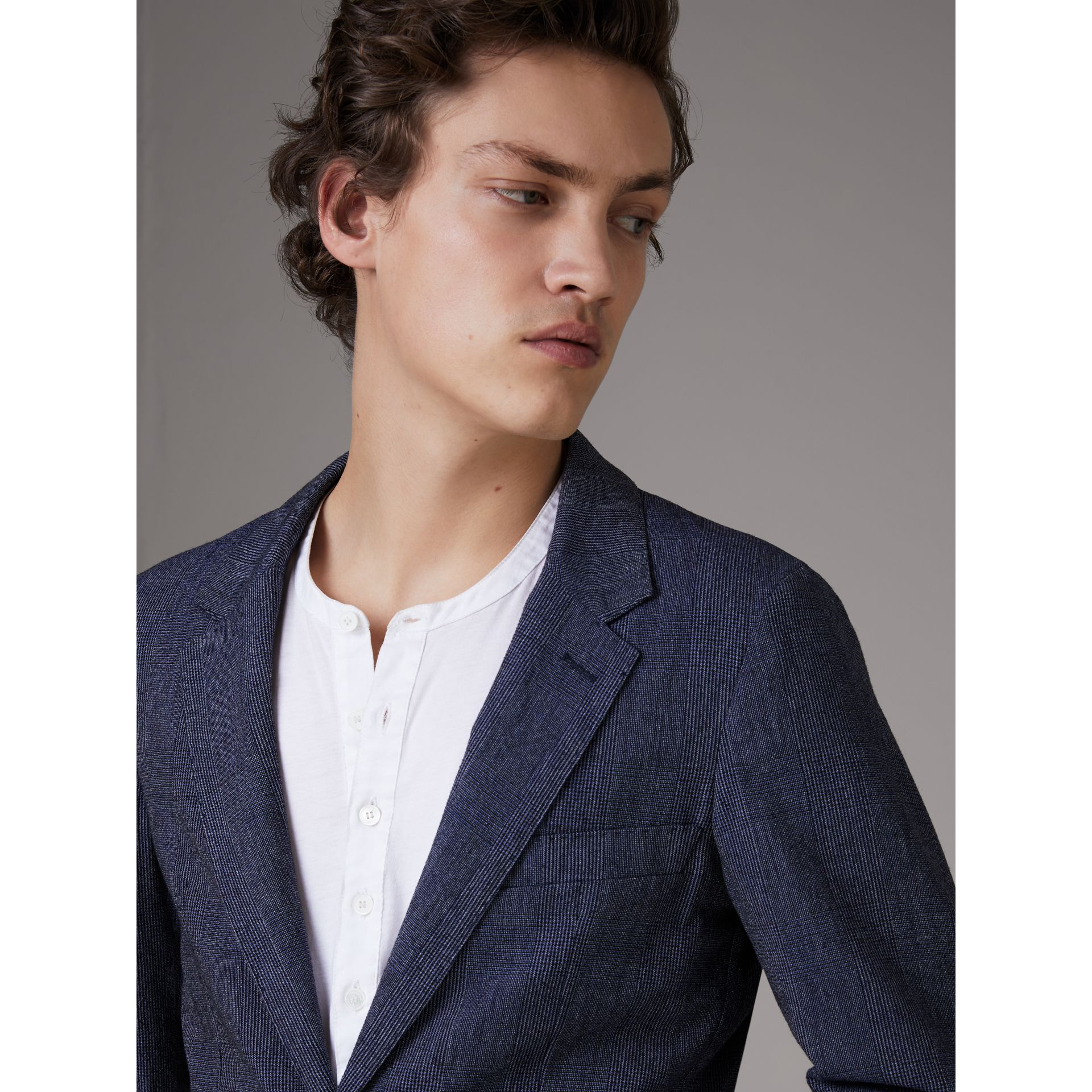 Slim Fit Cotton Wool Blend Tailored Jacket in Bright Blue Melange - Men | Burberry - gallery image 4