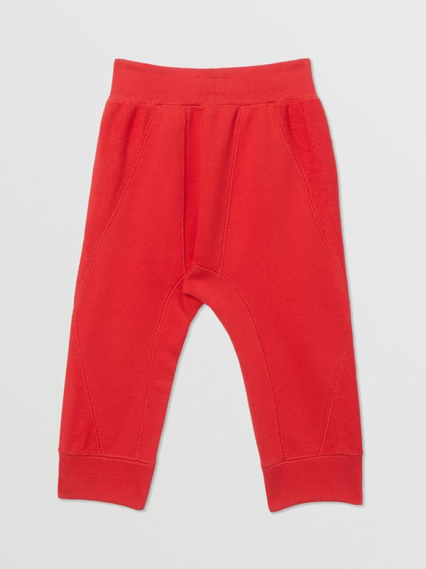 Logo Graphic Cotton Trackpants in Bright Red - Children | Burberry - cell image 3