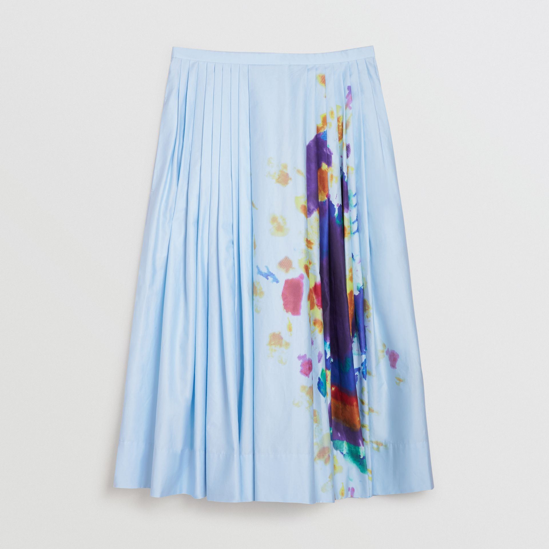 Rainbow Print Cotton Sateen Skirt in Light Blue - Women | Burberry Singapore - gallery image 3