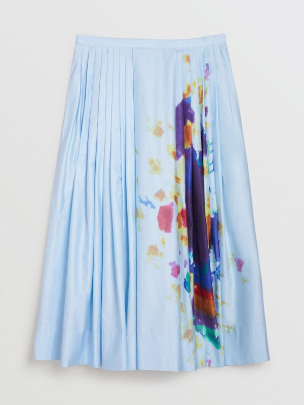 Rainbow Print Cotton Sateen Skirt in Light Blue - Women | Burberry Singapore - cell image 3