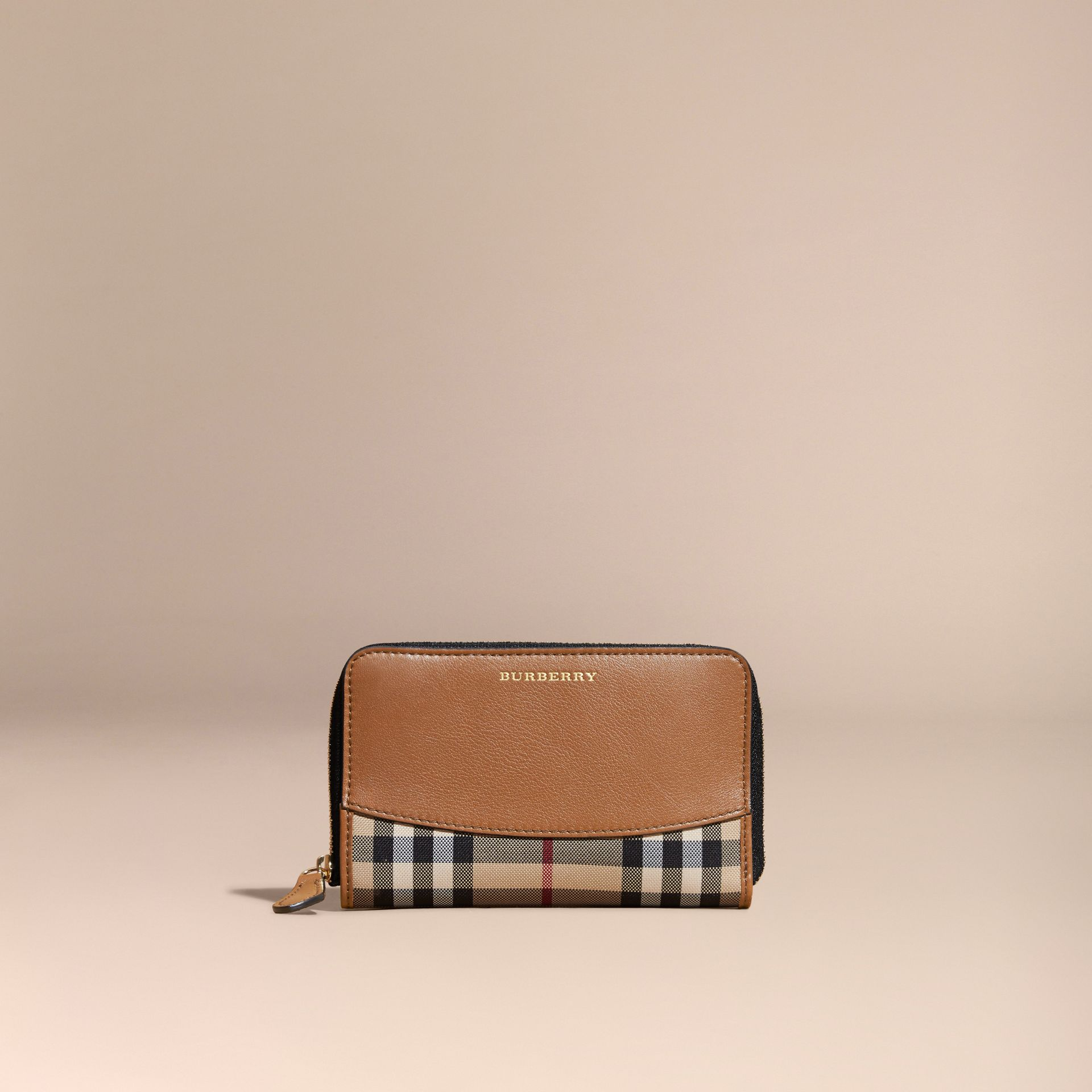 Horseferry Check and Leather Ziparound Wallet Tan - gallery image 6