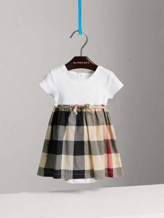 Check Cotton Jersey T-shirt Dress in New Classic | Burberry United Kingdom - cell image 2