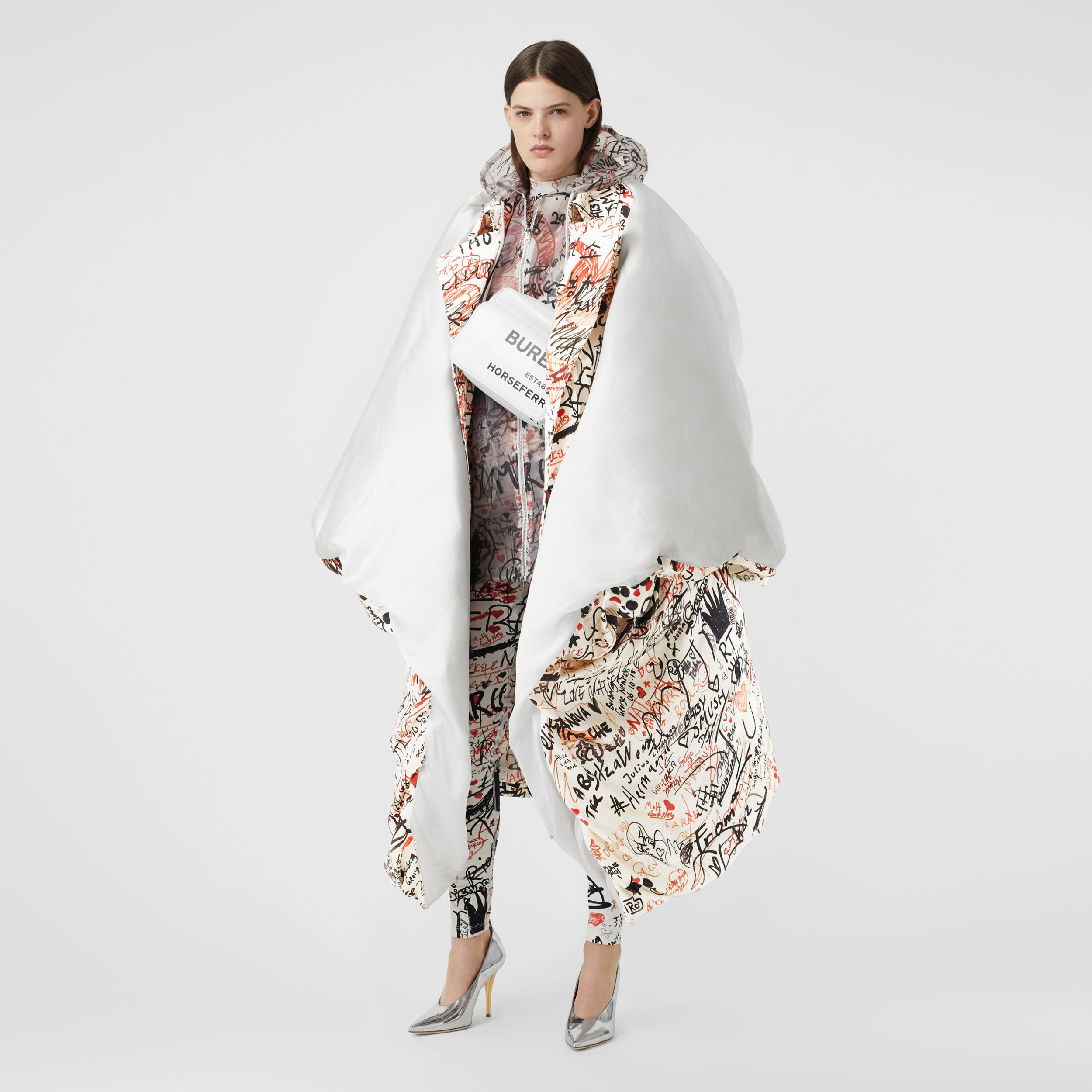 Graffiti Print Silk Satin Oversized Puffer Cape in Natural White - Women | Burberry - 1