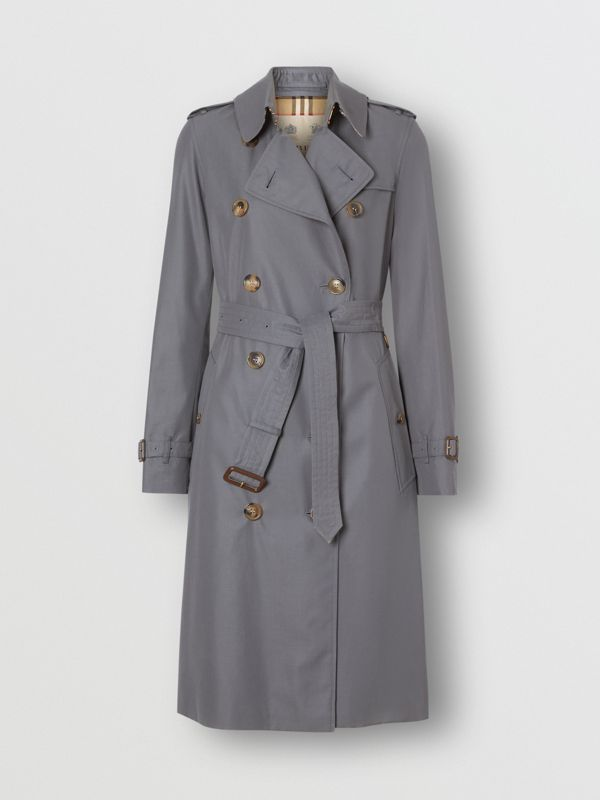 The Long Kensington Heritage Trench Coat in Mid Grey - Women | Burberry Singapore - cell image 3
