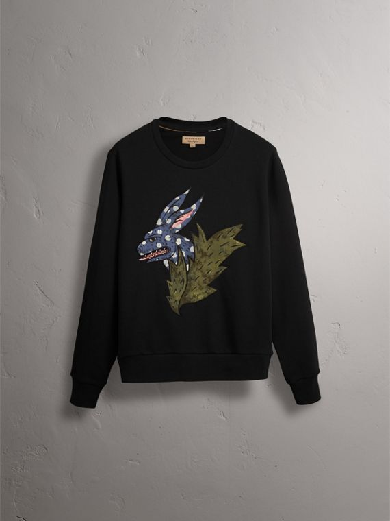 Beasts Motif Cotton Sweatshirt in Black - Women | Burberry Singapore - cell image 3