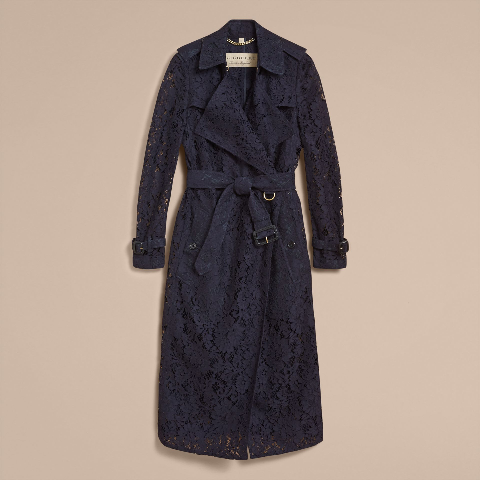 Macramé Lace Trench Coat in Navy - gallery image 4