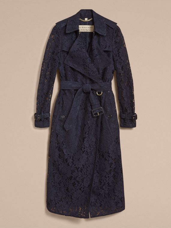 Macramé Lace Trench Coat in Navy - cell image 3