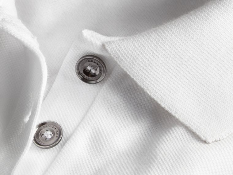 Check Trim Stretch Cotton Piqué Polo Shirt in White - cell image 1