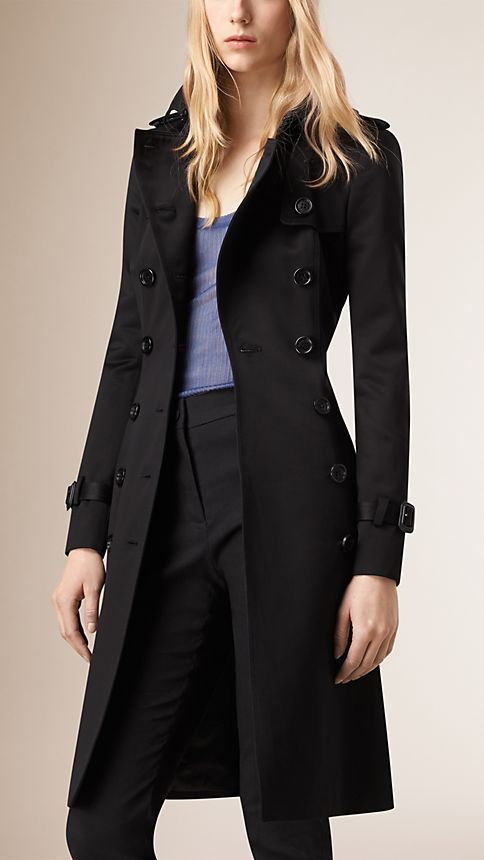 Black Cotton Sateen Trench Coat - Image 2