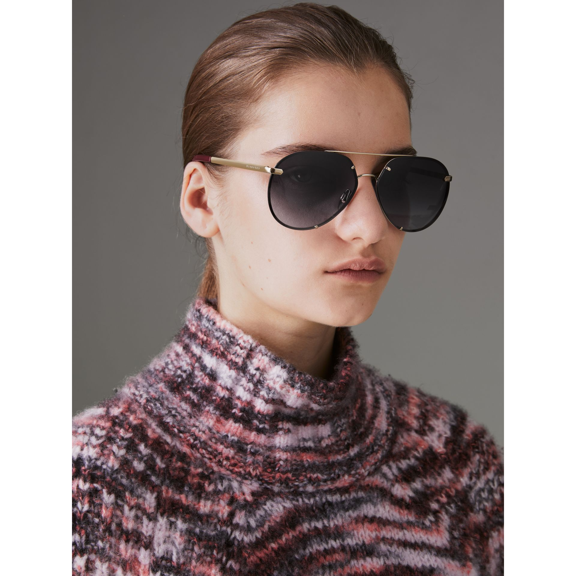 Check Detail Pilot Sunglasses in Grey - Women | Burberry - gallery image 2
