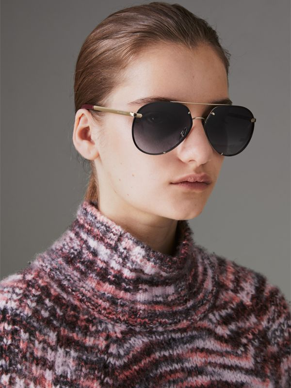 Check Detail Pilot Sunglasses in Grey - Women | Burberry - cell image 2