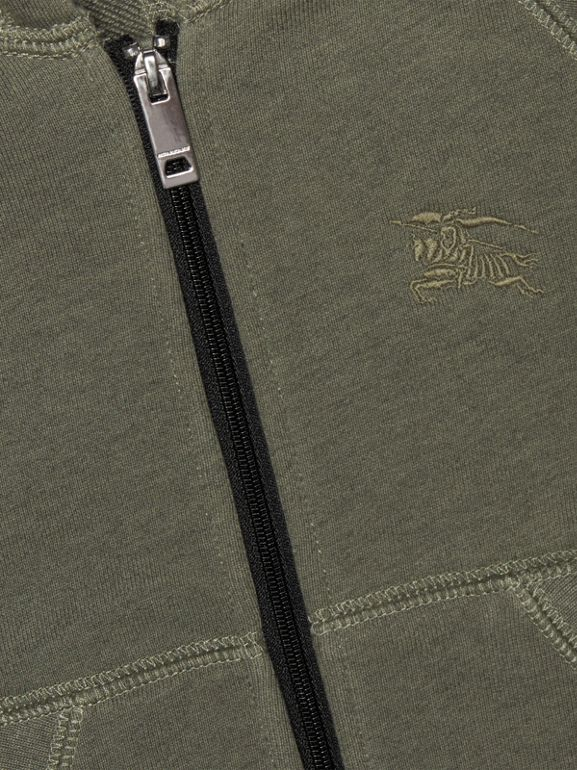 Cotton Jersey Hooded Top in Olive Melange - Children | Burberry - cell image 1