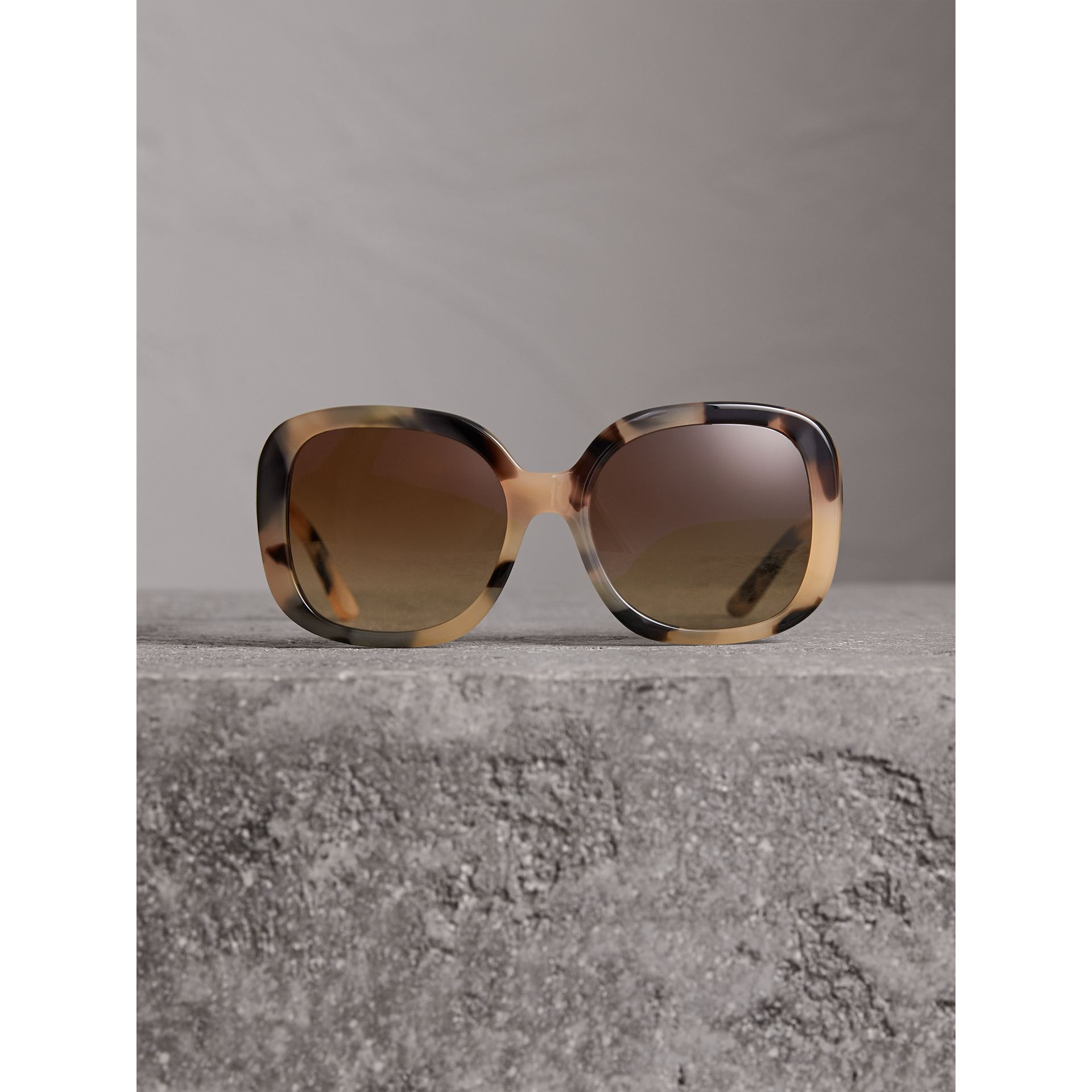 Square Frame Sunglasses in Honey - Women | Burberry - gallery image 3