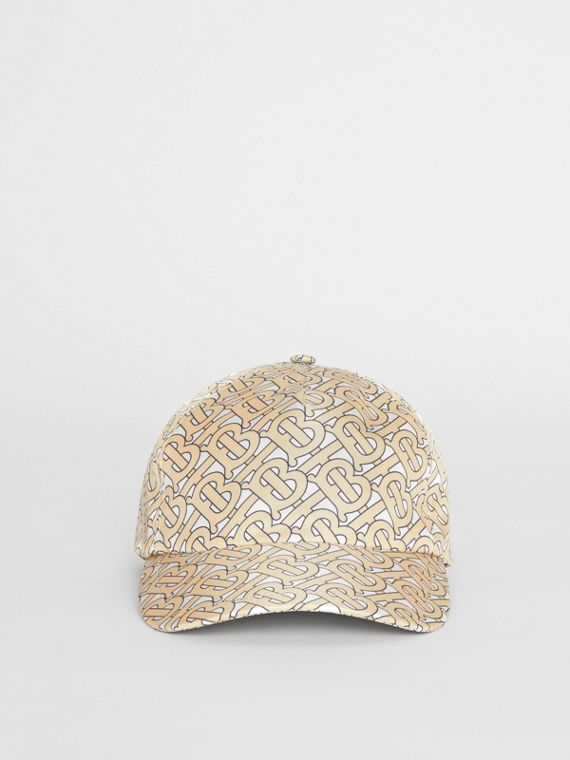 Monogram Print Baseball Cap in Camel