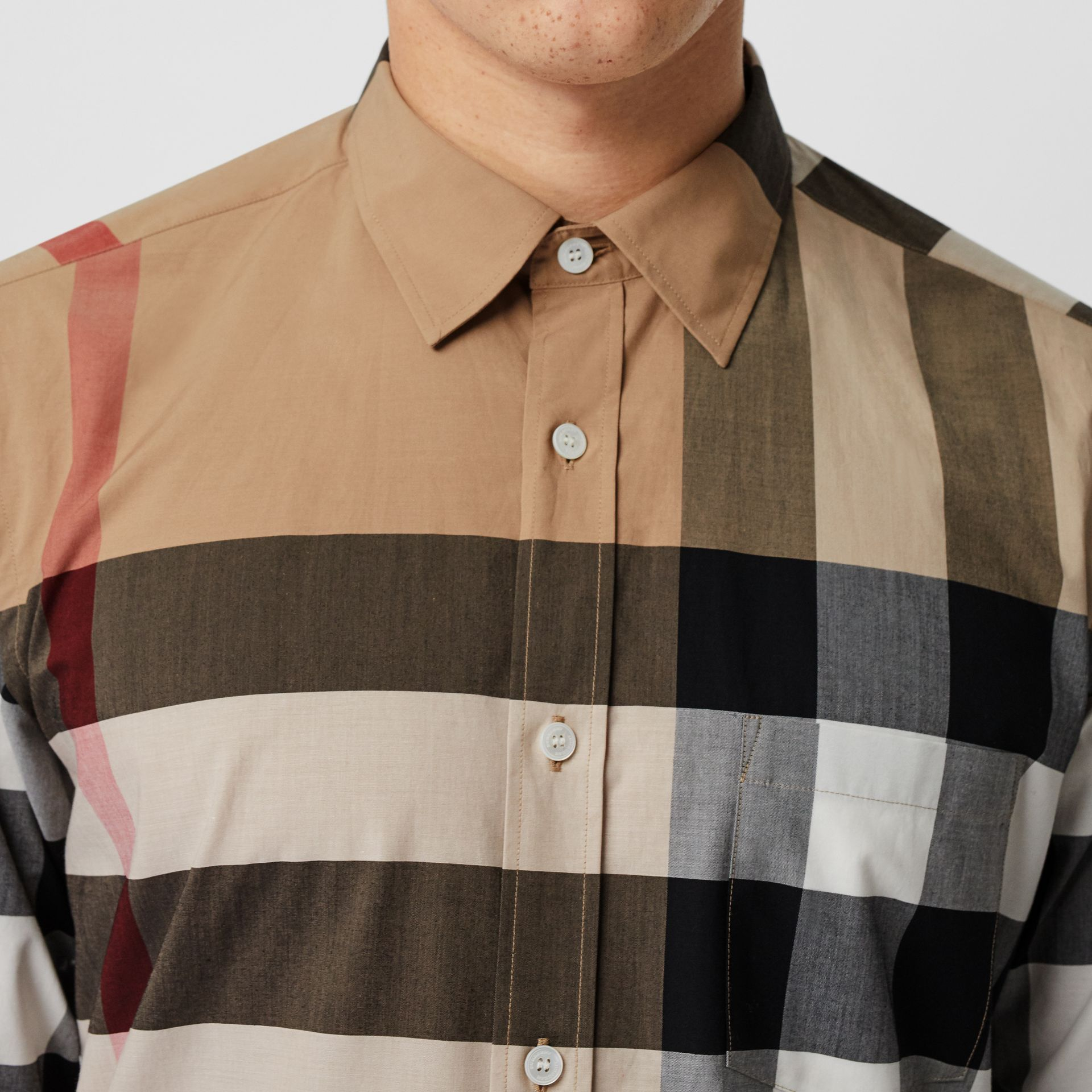 Check Stretch Cotton Shirt in Camel - Men | Burberry Canada - gallery image 1