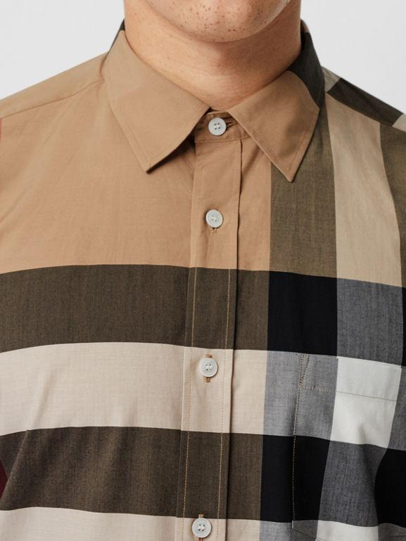 Check Stretch Cotton Shirt in Camel - Men | Burberry - cell image 1
