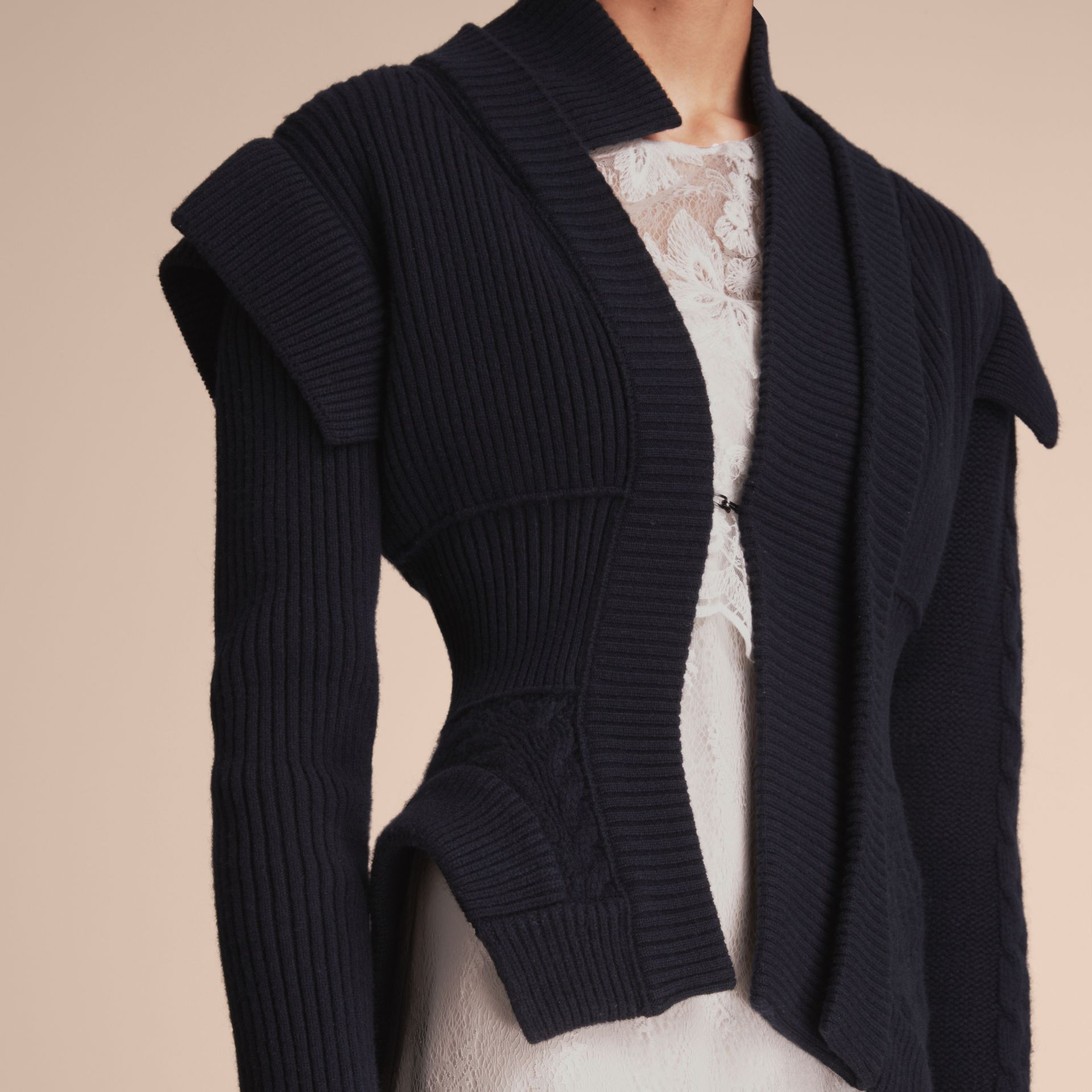 Knitted Wool Cashmere Military-inspired Jacket in Navy - Women | Burberry - gallery image 5