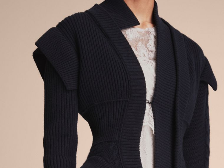 Knitted Wool Cashmere Military-inspired Jacket in Navy - Women | Burberry - cell image 4