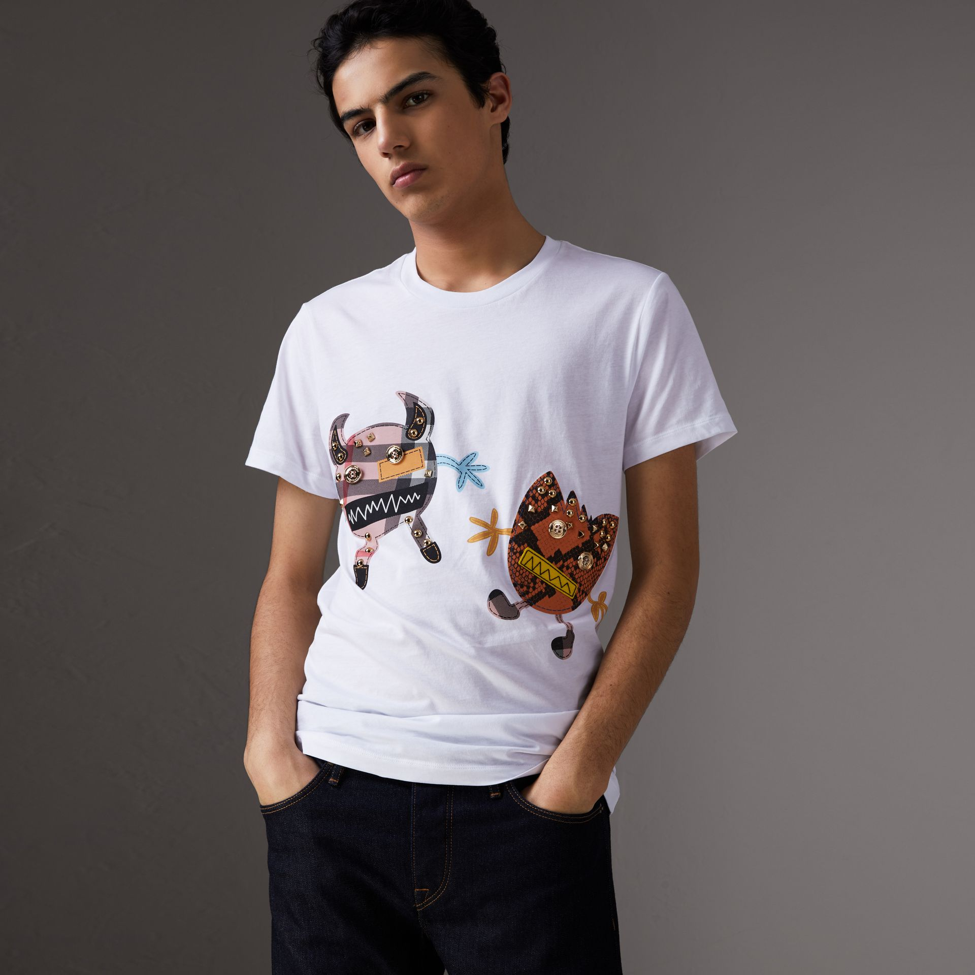 Creature Motif Cotton T-shirt in White - Men | Burberry - gallery image 1