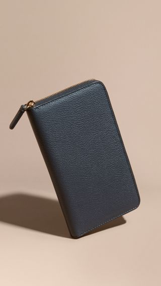 Grainy Leather Ziparound Wallet