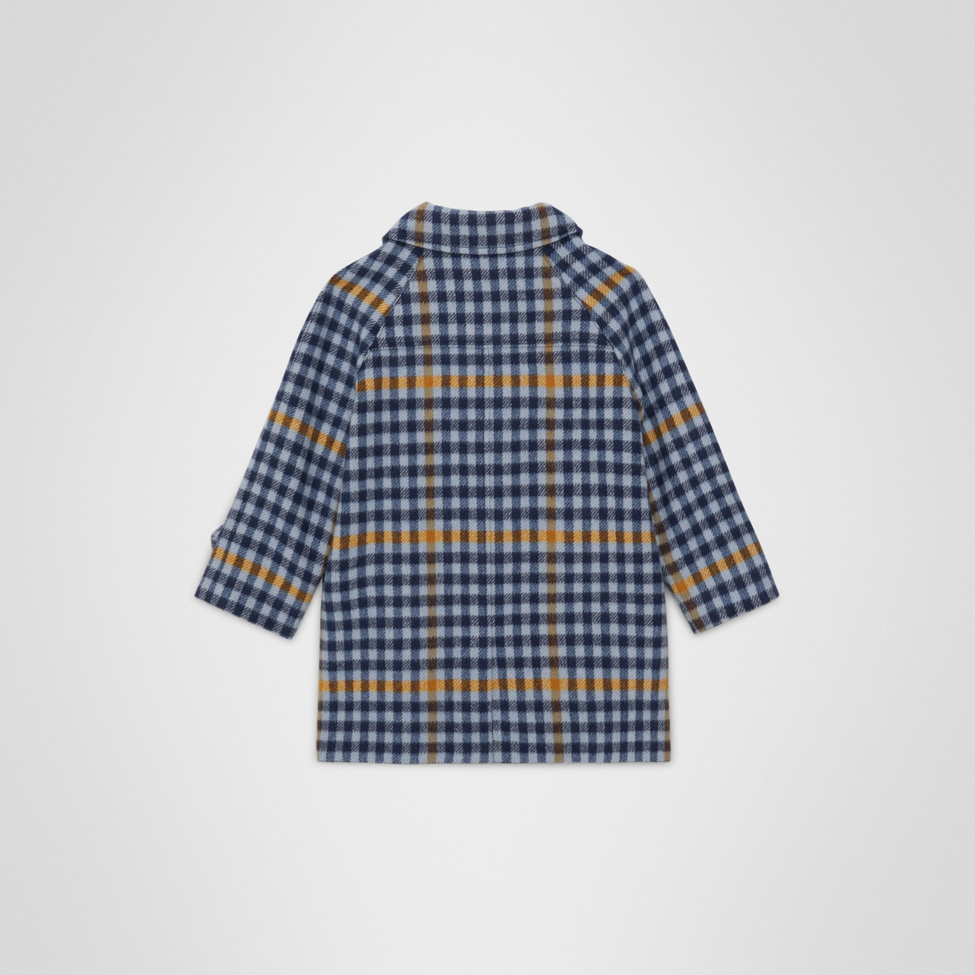 Check Wool Car Coat in Canvas Blue - Children | Burberry Singapore - gallery image 3