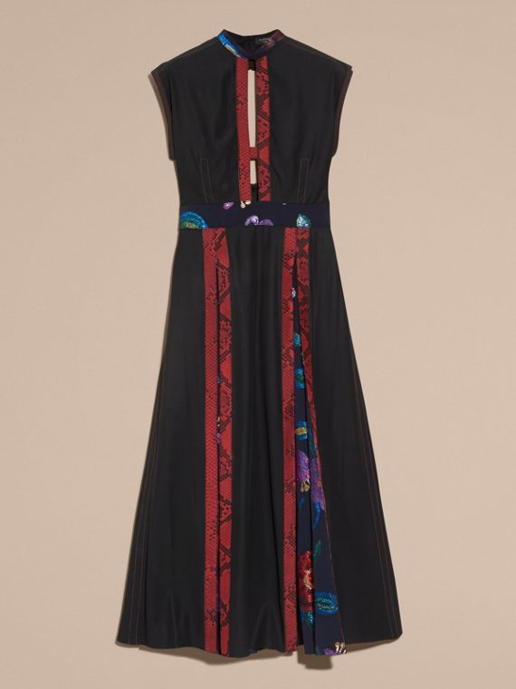 Black Silk Dress with Floral and Python Print Panels - cell image 3