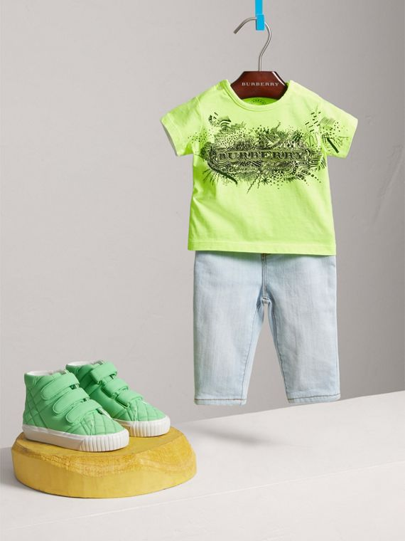 Doodle Print Cotton Jersey T-shirt in Bright Lemon