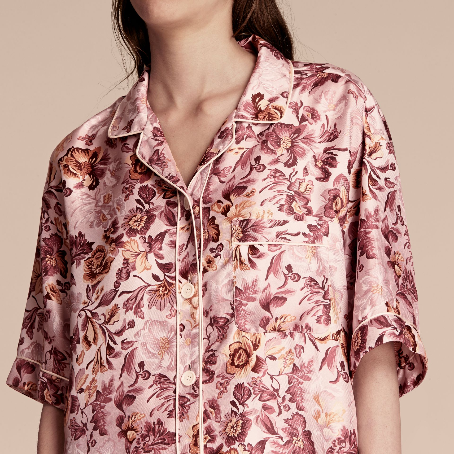 Pink heather Short-sleeved Floral Print Silk Pyjama-style Shirt Pink Heather - gallery image 5