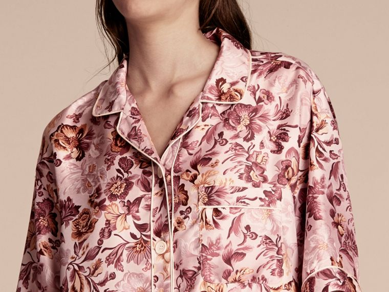 Pink heather Short-sleeved Floral Print Silk Pyjama-style Shirt Pink Heather - cell image 4