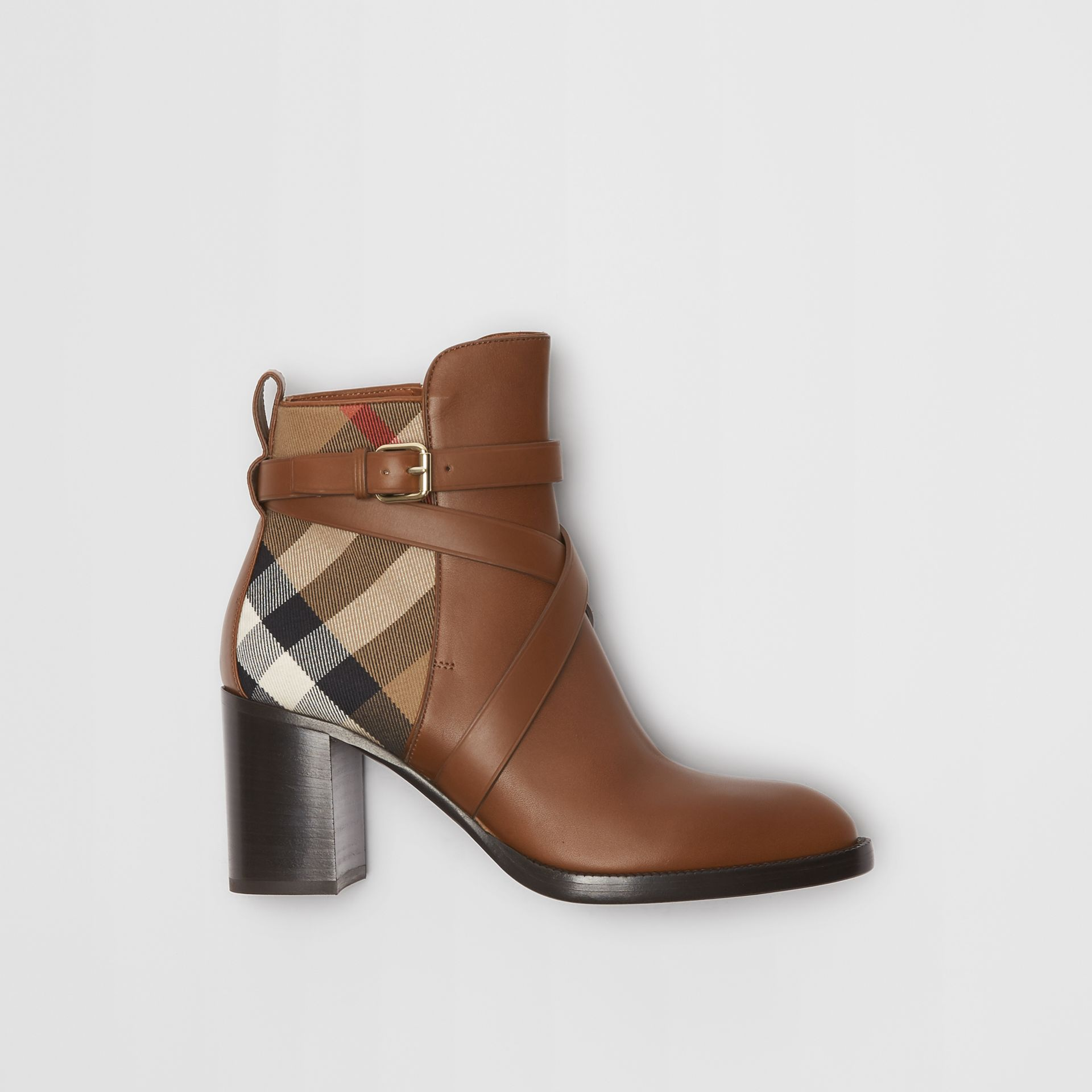 House Check and Leather Ankle Boots in Bright Camel - Women | Burberry Hong Kong - gallery image 0