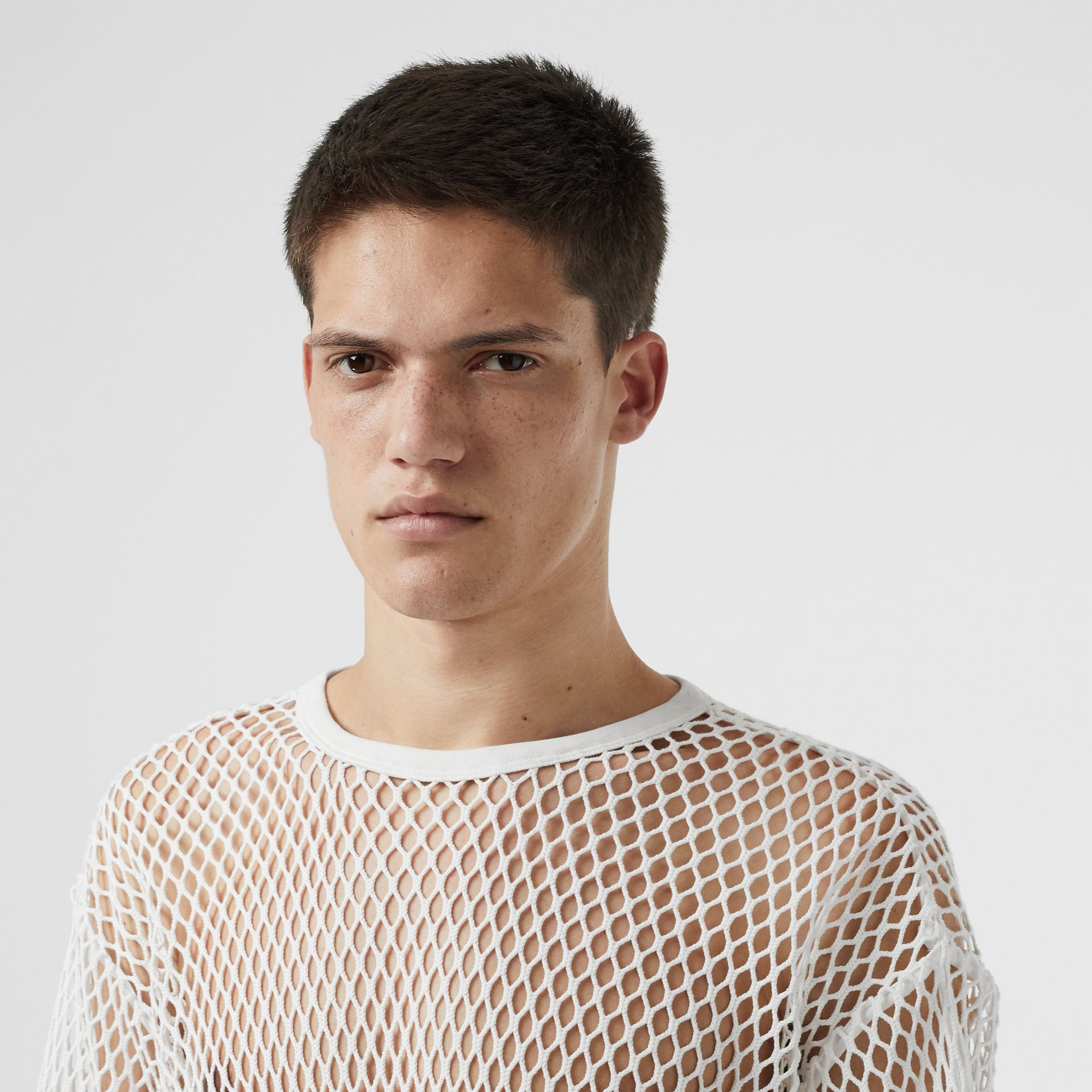 Cotton Mesh Oversized T-shirt in Optic White | Burberry Australia - gallery image 1