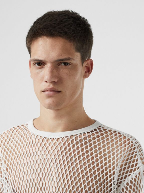 Cotton Mesh Oversized T-shirt in Optic White | Burberry Australia - cell image 1