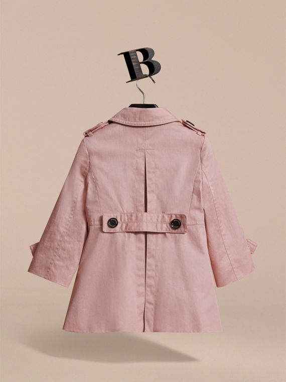 Cotton Single-breasted Trench Coat in Pale Rose - Children | Burberry - cell image 3