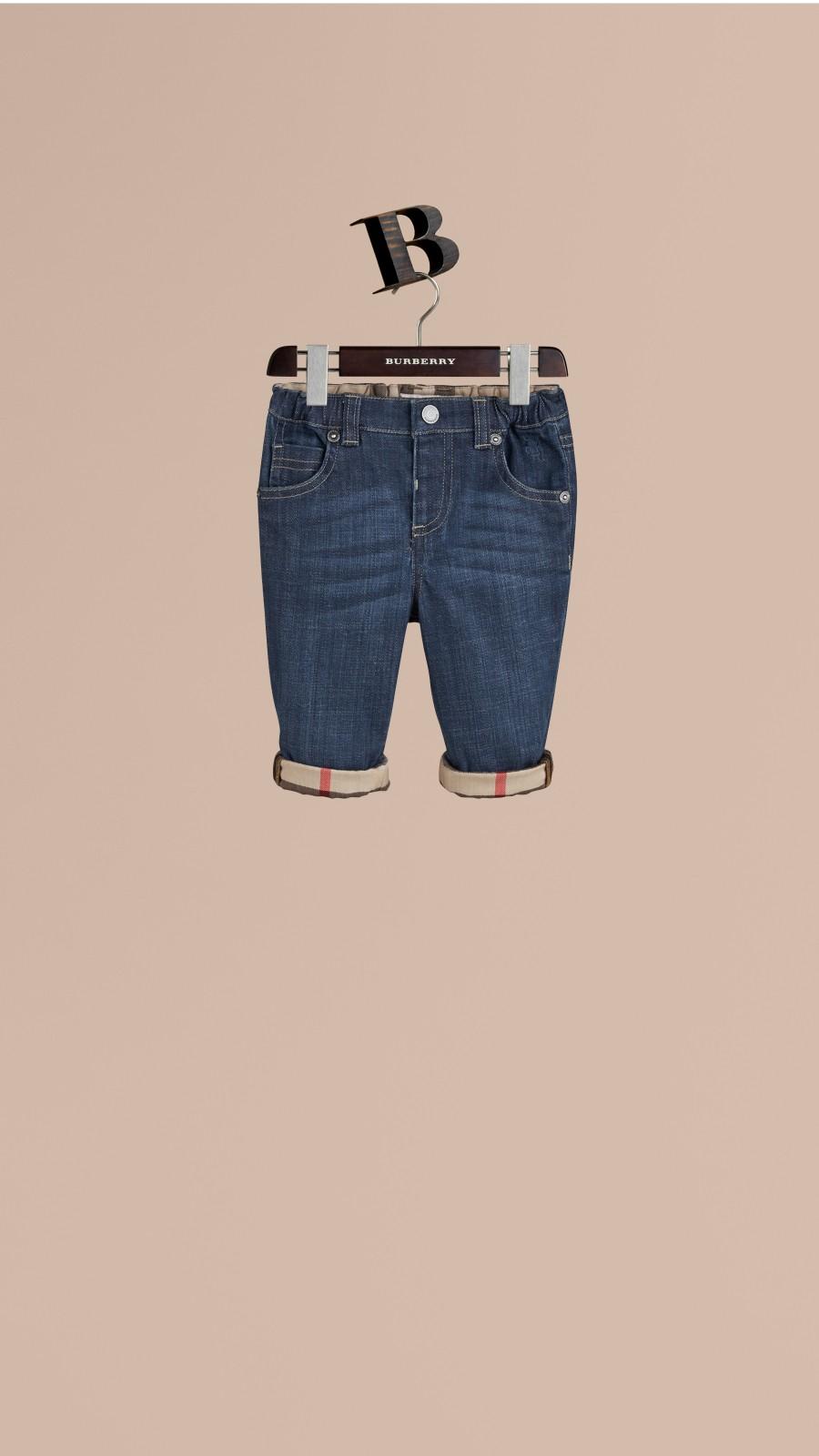 Blue Stretch Denim Jeans - Image 1