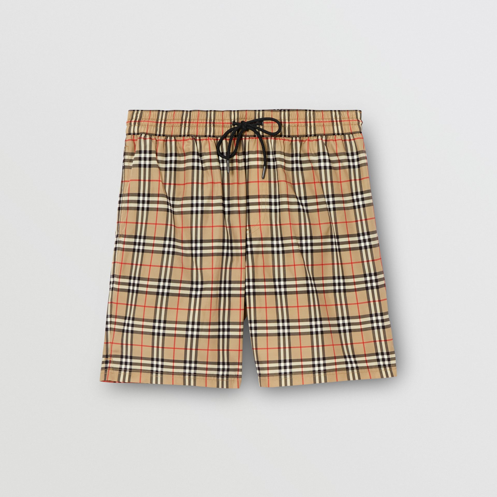Small Scale Check Drawcord Swim Shorts in Archive Beige - Men | Burberry Singapore - gallery image 2
