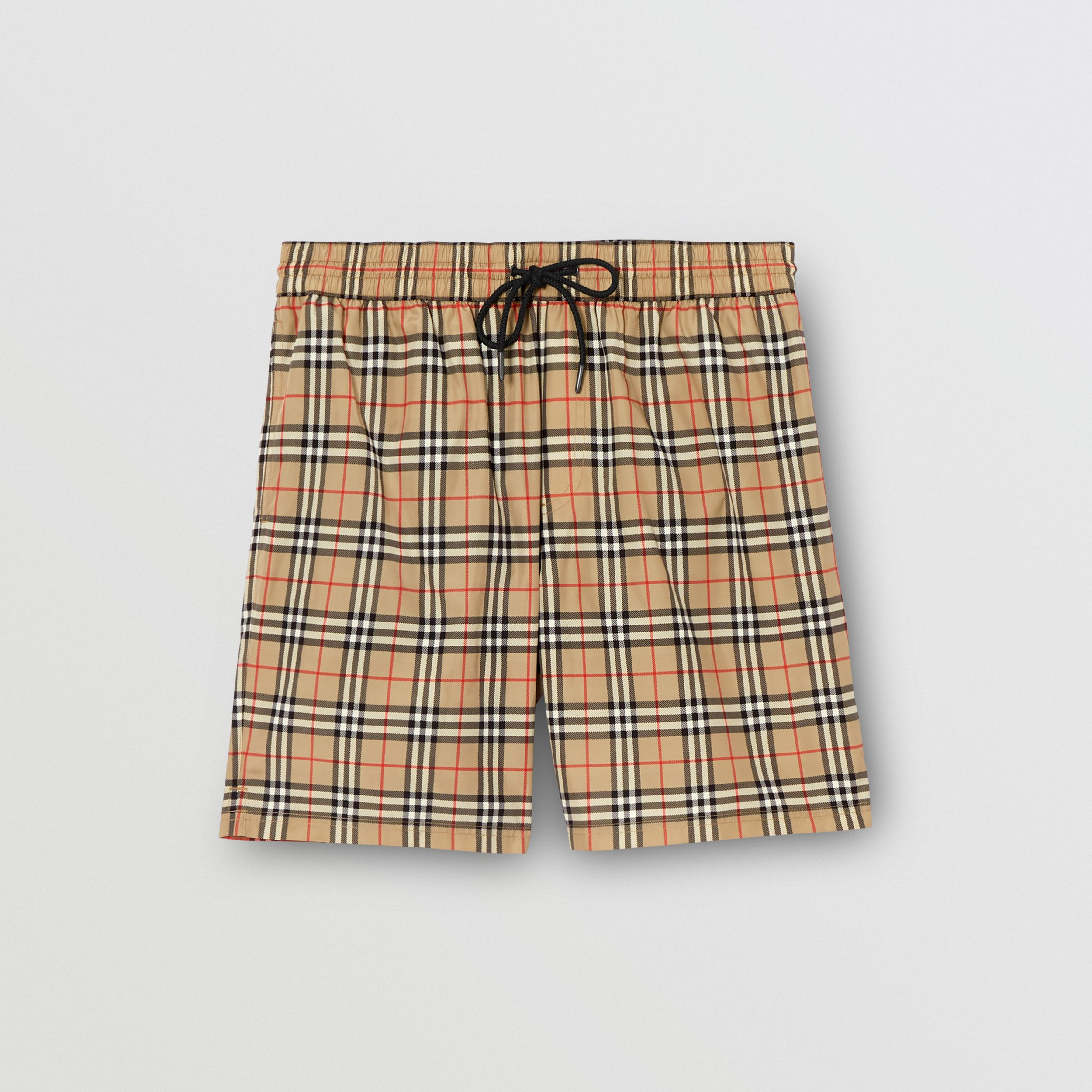 Small Scale Check Drawcord Swim Shorts in Archive Beige - Men | Burberry - 3