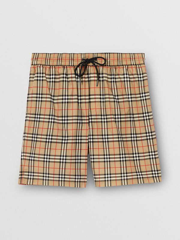 Small Scale Check Drawcord Swim Shorts in Archive Beige - Men | Burberry - cell image 2