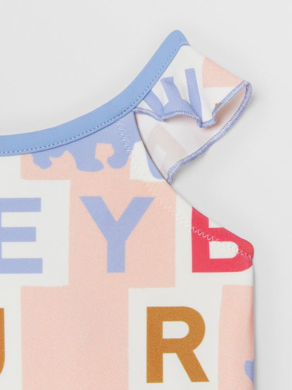 Ruffle Detail Logo Print Swimsuit in Pale Rose - Children | Burberry - cell image 3