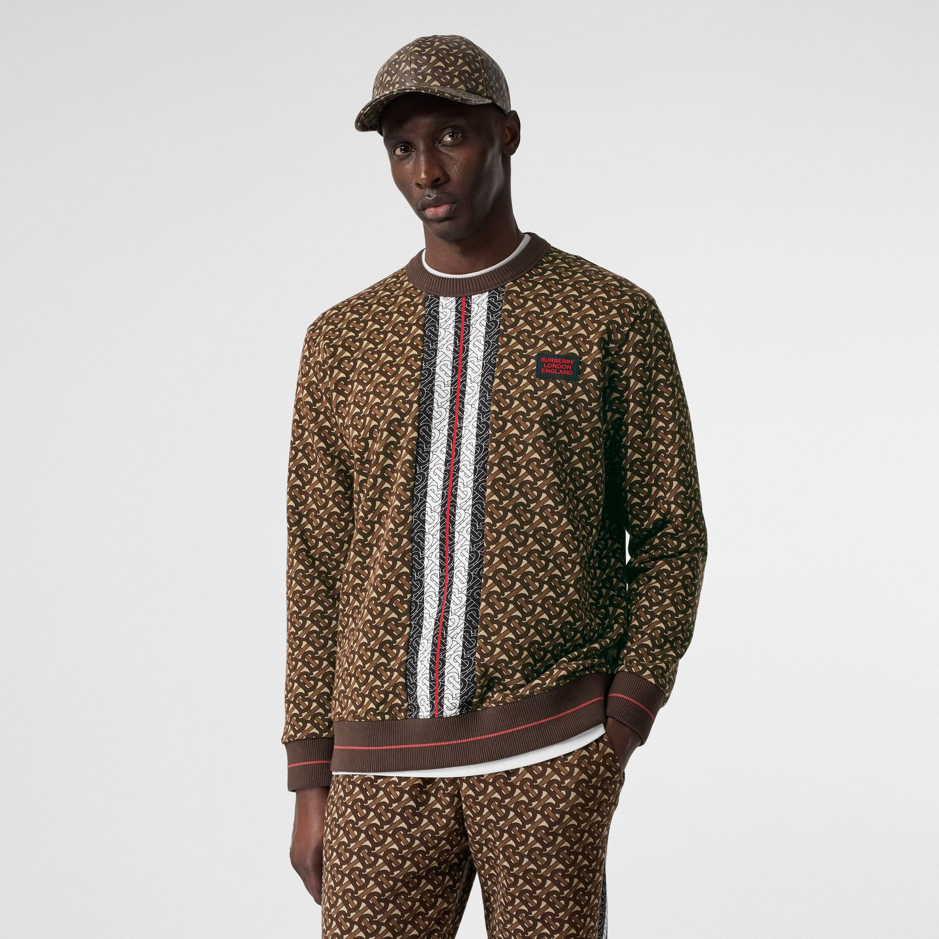 Monogram Stripe Print Cotton Sweatshirt in Bridle Brown - Men | Burberry United Kingdom - gallery image 4