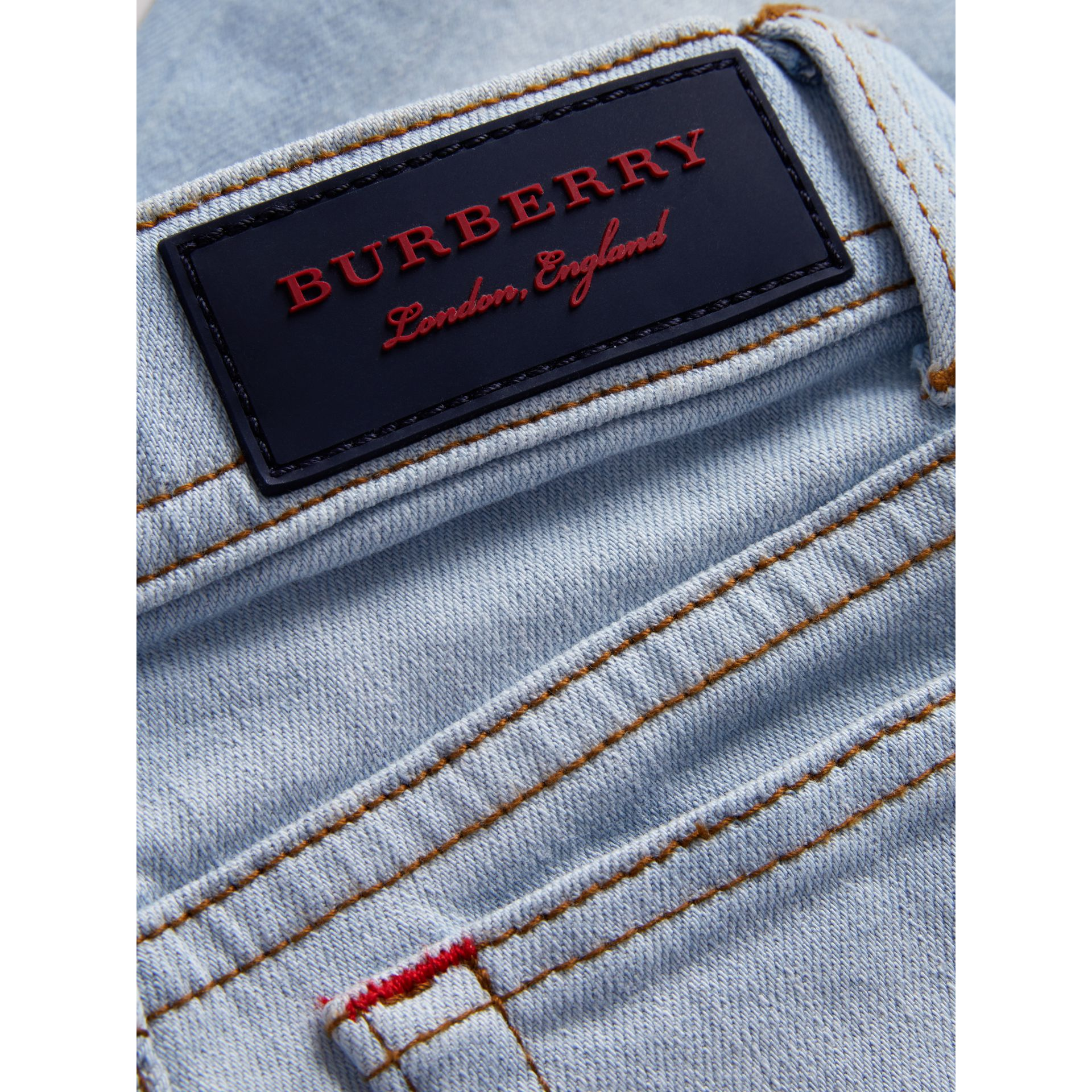Skinny Fit Stretch Jeans in Light Blue | Burberry - gallery image 1