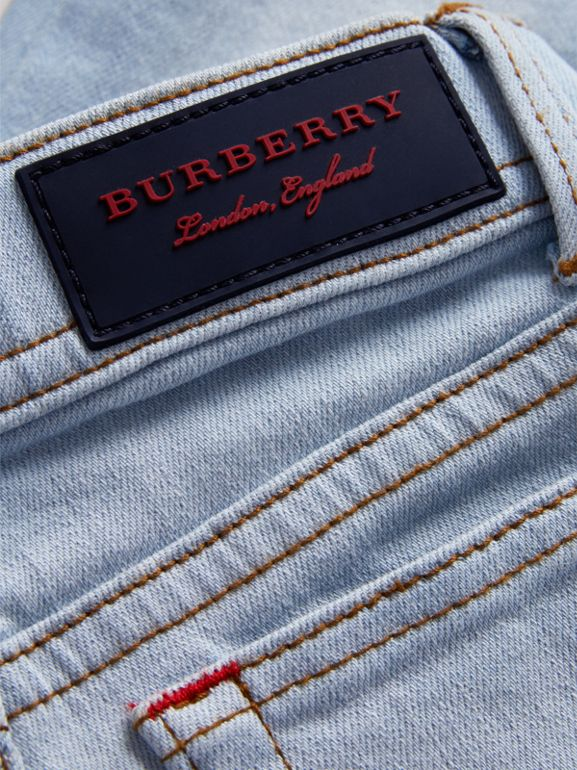 Skinny Fit Stretch Jeans in Light Blue - Girl | Burberry United States - cell image 1