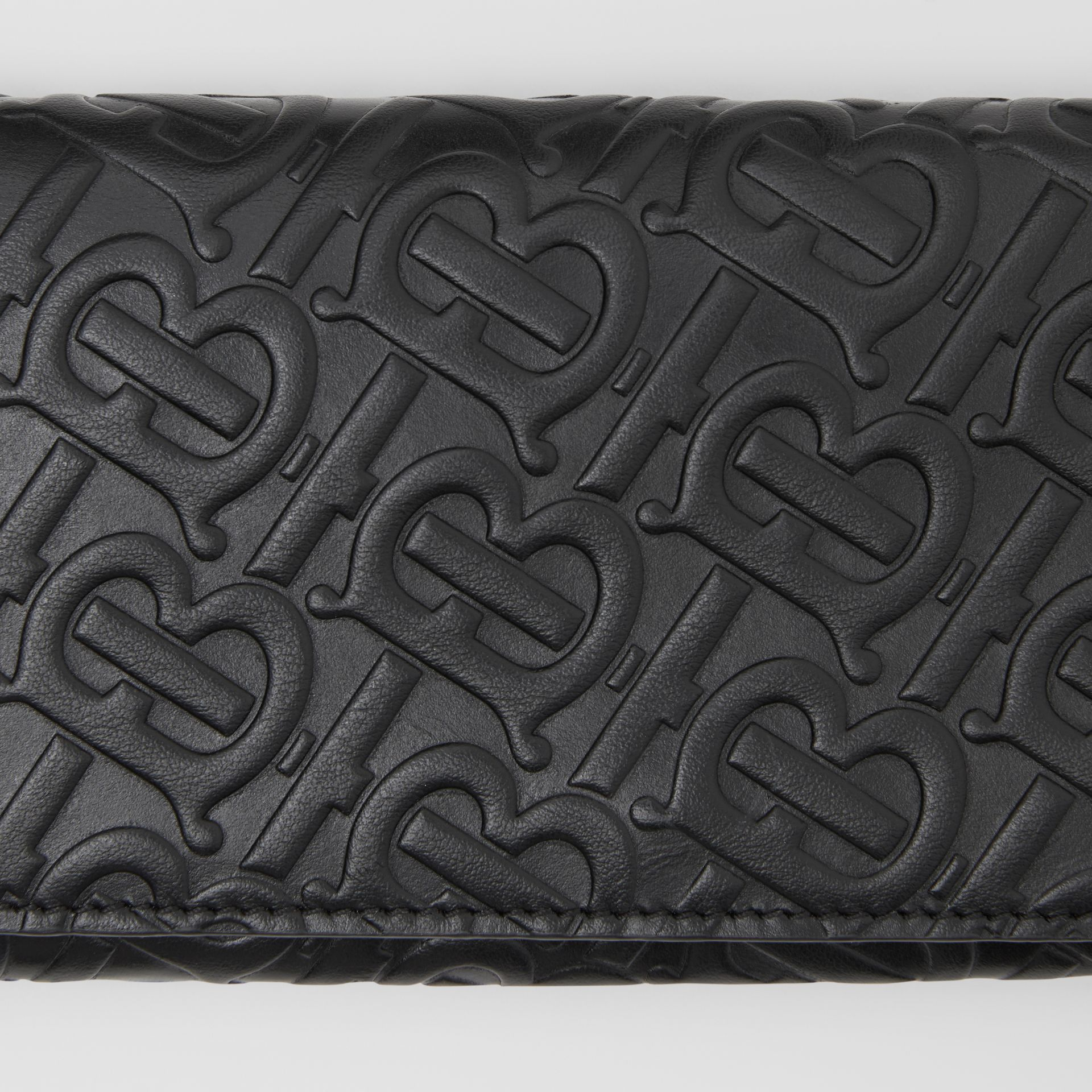 Monogram Leather Continental Wallet in Black - Women | Burberry - gallery image 1