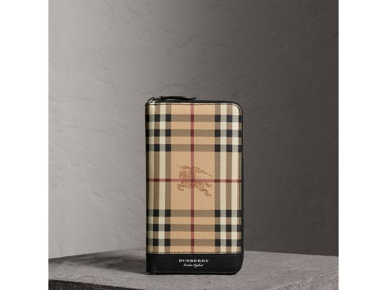 Haymarket Check and Leather Ziparound Wallet in Black - Men | Burberry Canada - cell image 4