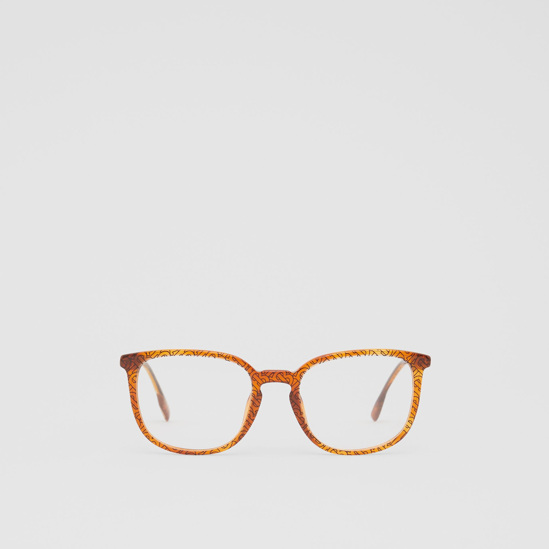 Monogram Print Square Optical Frames in Tortoiseshell Amber | Burberry - gallery image 0
